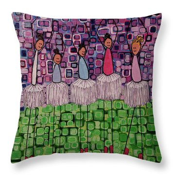 Throw Pillow featuring the painting 4 Non-blondes by Donna Howard