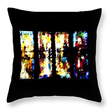 Throw Pillow featuring the digital art 4 Panels Of Seville Abstract by Donna Corless