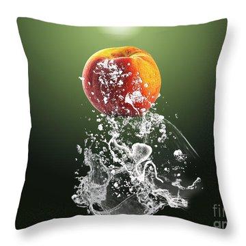Peach Splash Throw Pillow