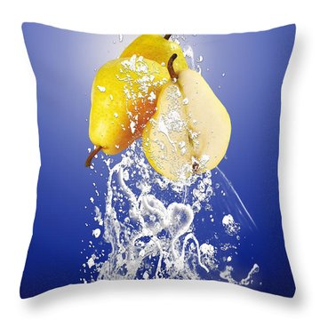Pear Splash Collection Throw Pillow by Marvin Blaine