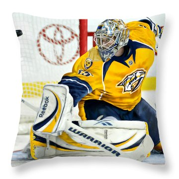 Throw Pillow featuring the digital art Pekka Rinne by Don Olea