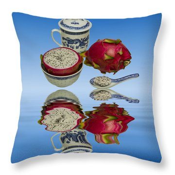Throw Pillow featuring the photograph Pink Dragon Fruit  by David French