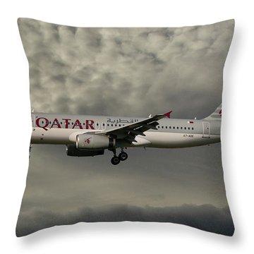 Qatar Airways Airbus A320-232 Throw Pillow