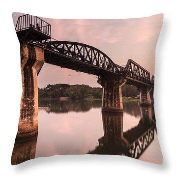 River Kwai Bridge Throw Pillow