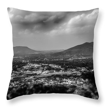 Roanoke City As Seen From Mill Mountain Star At Dusk In Virginia Throw Pillow