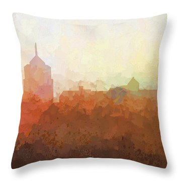 Throw Pillow featuring the digital art Roanoke Virginia Skyline by Marlene Watson