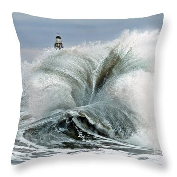 Roker Pier Sunderland Throw Pillow by Morag Bates