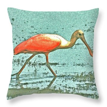 Throw Pillow featuring the digital art 4- Roseate Spoonbill by Joseph Keane