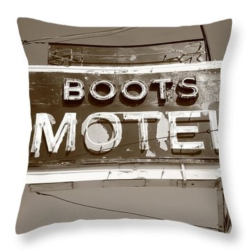 Route 66 - Boots Motel Throw Pillow by Frank Romeo