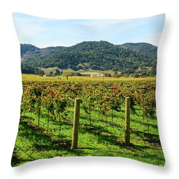 Rows Of Grapevines In Napa Valley California Throw Pillow