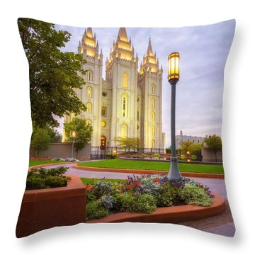 Throw Pillow featuring the photograph Salt Lake Temple by Dustin  LeFevre