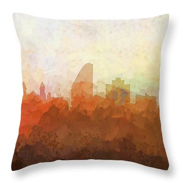Throw Pillow featuring the digital art San Jose California Skyline by Marlene Watson