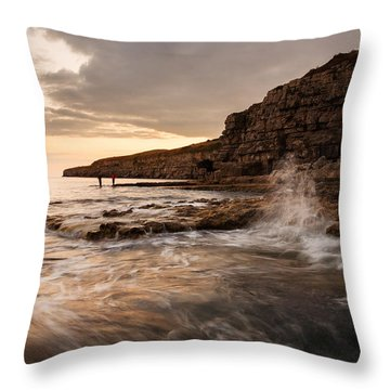 Throw Pillow featuring the photograph Seacombe Bay by Ian Middleton