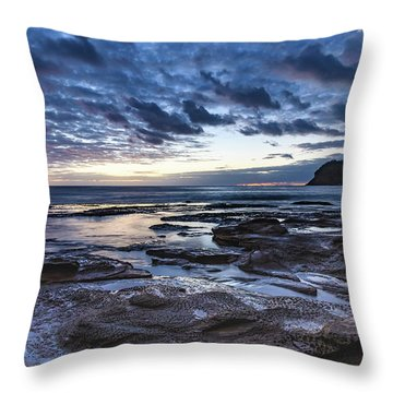 Seascape Cloudy Nightscape Throw Pillow