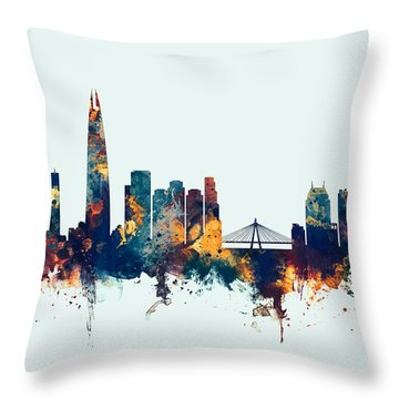 Throw Pillow featuring the digital art Seoul Skyline South Korea by Michael Tompsett