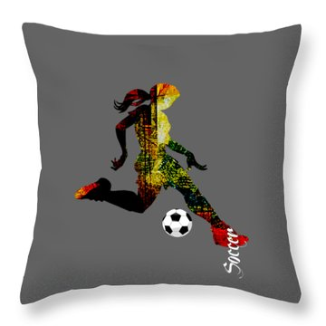 Soccer Collection Throw Pillow by Marvin Blaine