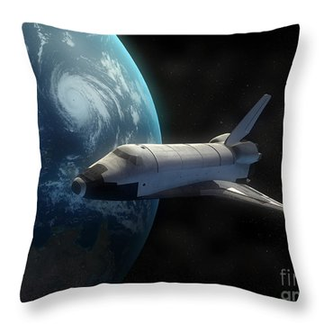 Space Shuttle Backdropped Against Earth Throw Pillow by Carbon Lotus