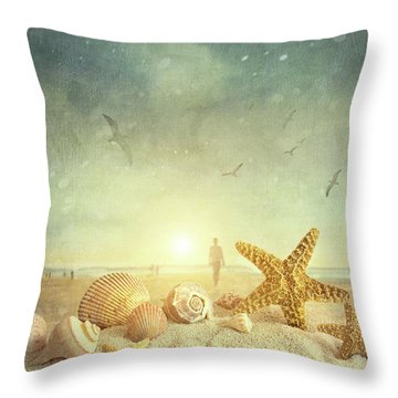 Starfish And Seashells  At The Beach Throw Pillow