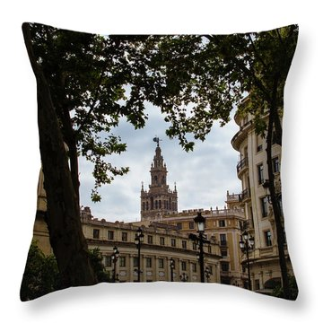 Streets Of Seville - Giralda From Plaza Nueva Throw Pillow by Andrea Mazzocchetti