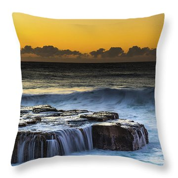 Sunrise Seascape With Cascades Over The Rock Ledge Throw Pillow