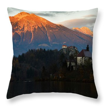 Sunset Over Lake Bled Throw Pillow