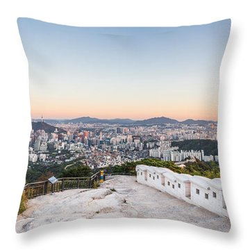 Sunset Over Seoul Throw Pillow