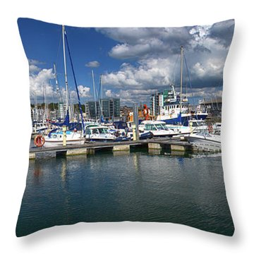 Sutton Harbour Plymouth Throw Pillow by Chris Day