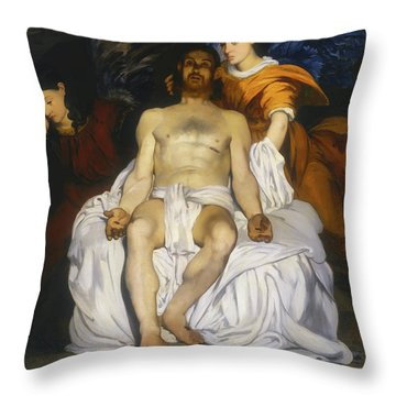 Throw Pillow featuring the painting The Dead Christ With Angels by Edouard Manet
