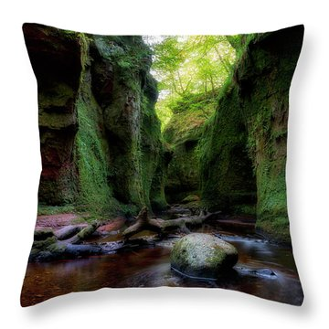 The Devil Pulpit At Finnich Glen Throw Pillow by Jeremy Lavender Photography