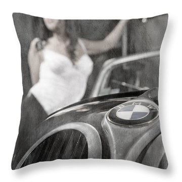 Throw Pillow featuring the photograph The Girl On The Background Of Vintage Car. by Andrey  Godyaykin