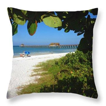 The Historic Naples Pier Throw Pillow