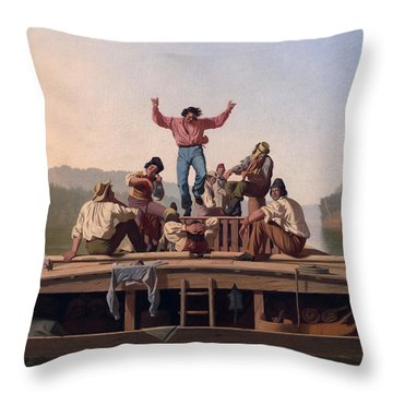 The Jolly Flatboatmen Throw Pillow