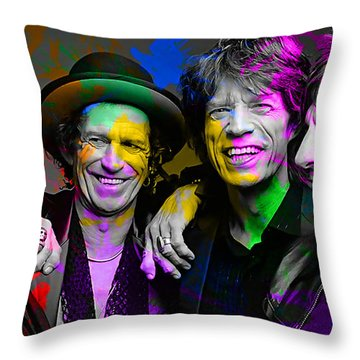 The Rolling Stones Throw Pillow by Marvin Blaine
