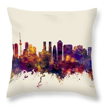 Tokyo Japan Skyline Throw Pillow by Michael Tompsett