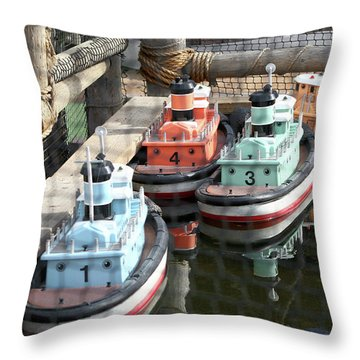 4 Toy Boats Throw Pillow