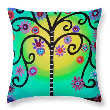 Throw Pillow featuring the painting Tree Of Life by Pristine Cartera Turkus
