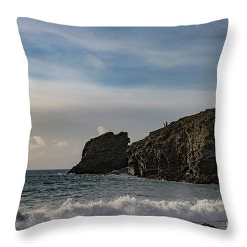 Throw Pillow featuring the photograph Trevellas Cove Cornwall by Brian Roscorla