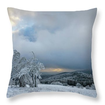 Typical Snowy Landscape In Ore Mountains, Czech Republic. Throw Pillow