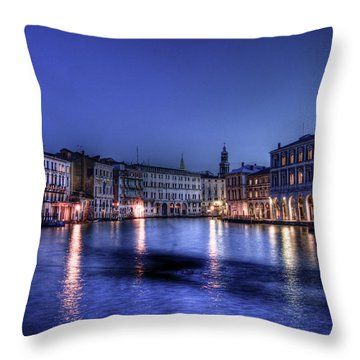 Venice By Night Throw Pillow
