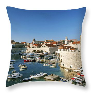 View Of Dubrovnik In Croatia Throw Pillow