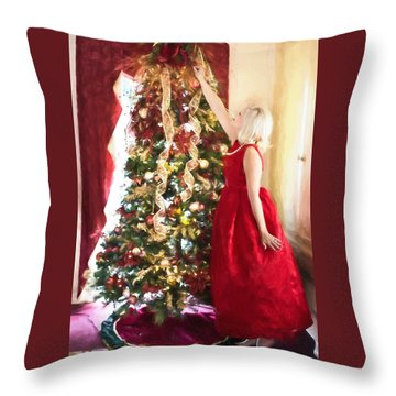 Vintage Val Home For The Holidays Throw Pillow