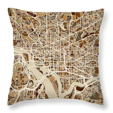 Washington Dc Street Map Throw Pillow
