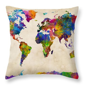 Watercolor Map Of The World Map Throw Pillow
