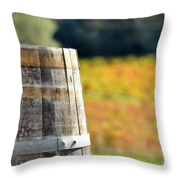 Wine Barrel In Autumn Throw Pillow