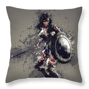 Wonder Woman Throw Pillow by Elena Kosvincheva