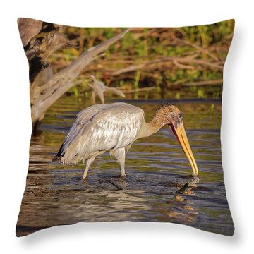 Throw Pillow featuring the photograph Wood Stork by Peter Lakomy