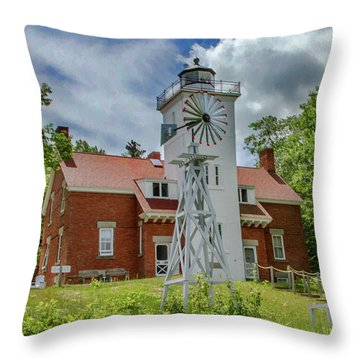 Throw Pillow featuring the photograph 40 Mile Point Lighthouse by Bill Gallagher