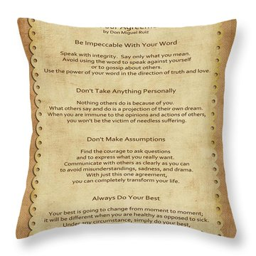 41- The Four Agreements Throw Pillow by Joseph Keane