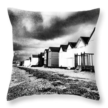 Black And White Beach Huts Throw Pillow