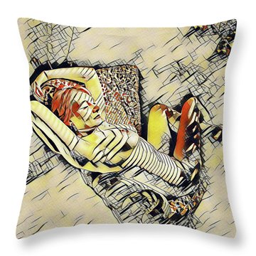 4248s-jg Zebra Striped Woman In Armchair By Window Erotica In The Style Of Kandinsky Throw Pillow